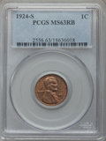Lincoln Cents: , 1924-S 1C MS63 Red and Brown PCGS. PCGS Population (139/228). NGC Census: (48/81). Mintage: 11,696,000. Numismedia Wsl. Pri...