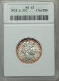 Barber Quarters: , 1903-S 25C MS62 ANACS. NGC Census: (12/47). PCGS Population (14/67). Mintage: 1,036,000. Numismedia Wsl. Price for problem ...