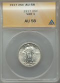 Standing Liberty Quarters: , 1917 25C Type One AU58 ANACS. NGC Census: (174/1148). PCGS Population (354/1619). Mintage: 8,740,000. Numismedia Wsl. Price...