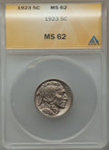 Buffalo Nickels: , 1923 5C MS62 ANACS. NGC Census: (92/736). PCGS Population (50/1283). Mintage: 35,715,000. Numismedia Wsl. Price for problem...