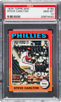 Baseball Cards:Singles (1970-Now), 1975 Topps Mini Steve Carlton #185 PSA Gem Mint 10....