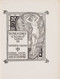 Books:Literature Pre-1900, Walter Crane. LIMITED. Renascence: A Book of Verse. London: Elkin Mathews at the Sign of The Bodley Head, 1891....
