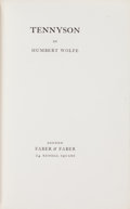 Books:Literature Pre-1900, [Alfred Lord Tennyson]. Humbert Wolfe. SIGNED/ LIMITED.Tennyson. London: Faber & Faber, 1930....