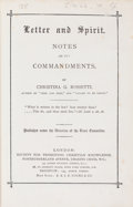 Books:Religion & Theology, Christina G. Rossetti. Letter and Spirit. Notes on the Commandments. London: Society for Promoting Christian Knowled...