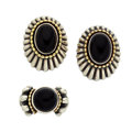 Estate Jewelry:Earrings, Black Onyx, Sterling Silver, Gold Jewelry Suite, Lagos. ... (Total:2 Items)