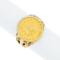 Estate Jewelry:Rings, Gold Coin Ring. ...