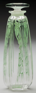 Art Glass:Lalique, R. Lalique Clear Glass Cyclamen Perfume with Green Patinafor Coty. With original Coty fitted green leather case...