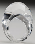 Art Glass:Lalique, Lalique Clear Glass Gourmande Ring. Post 1945. EngravedLalique. Size 8-1/4 . ...
