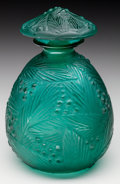 Art Glass, Sabino Teal Glass Mimosa Perfume. Circa 1920. EngravedSabino, France. Ht. 5 in.. ...