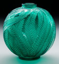 Art Glass:Lalique, R. Lalique Green Glass Palmes Vase. Circa 1923. EngravedR. Lalique and Molded R. LALIQUE, MADE IN FRANCE. ...
