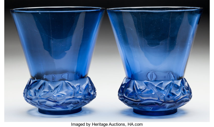 Pair Of R Lalique Navy Blue Glass Lierre Vases Circa Lot 60262