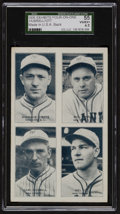 Baseball Cards:Singles (1930-1939), 1935 Four-on-One Exhibits Hubbell/Critz/Ott/Terry SGC 55 VG/EX+ 4.5.. ...