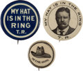 """Political:Pinback Buttons (1896-present), Theodore Roosevelt: Three Classic 1912 Buttons with """"Hat in the Ring"""" Themes...."""