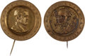 Political:Ferrotypes / Photo Badges (pre-1896), Ulysses S. Grant and Horatio Seymour: Pair of Brass ShellBadges.... (Total: 2 Items)