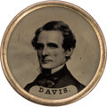 Political:Ferrotypes / Photo Badges (pre-1896), Jefferson Davis and Jefferson Davis. A Rare Civil War Ferrotypewith the Confederate Leader on Both Sides. ...