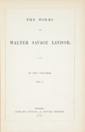 Books:Literature Pre-1900, Walter Savage Landor. The Works of Walter Savage Landor. In TwoVolumes. London: Edward Moxon, 1846.... (Total: 2 Items)