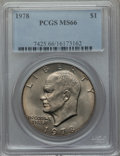 Eisenhower Dollars: , 1978 $1 MS66 PCGS. PCGS Population (365/5). NGC Census: (147/5). Mintage: 25,702,000. Numismedia Wsl. Price for problem fre...