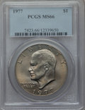 Eisenhower Dollars: , 1977 $1 MS66 PCGS. PCGS Population (836/14). NGC Census: (303/8). Mintage: 12,596,000. Numismedia Wsl. Price for problem fr...