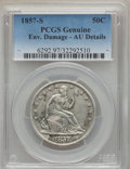 Seated Half Dollars: , 1857-S 50C -- Environmental Damage -- PCGS Genuine. AU Details. NGC Census: (1/18). PCGS Population (4/17). Mintage: 158,00...