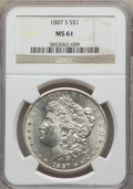 Morgan Dollars: , 1887-S $1 MS61 NGC. NGC Census: (772/4205). PCGS Population (510/7068). Mintage: 1,771,000. Numismedia Wsl. Price for probl...