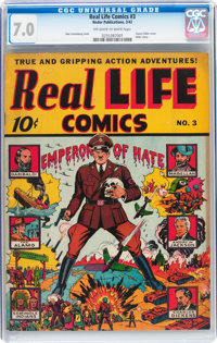Real Life Comics #3 (Nedor Publications, 1942) CGC FN/VF 7.0 Off-white to white pages