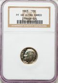 Proof Roosevelt Dimes, 1963 10C PR68 Ultra Cameo NGC. NGC Census: (527/156). PCGSPopulation (503/198). Numismedia Wsl. Price for problem free NG...
