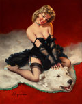 Paintings, Gil Elvgren (American, 1914-1980). Bear Facts (A Modest Look; Bearback Rider), Brown & Bigelow calendar illustration, 19...
