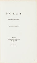 Books:Literature Pre-1900, [Alfred and Frederick Tennyson]. [Hallam] Tennyson, preface.LIMITED. Poems by Two Brothers. London: Macmillan and C...