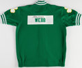 Basketball Collectibles:Uniforms, 1992-93 Marcus Webb Game Worn, Signed Boston Celtics WarmupJacket....