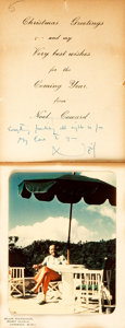 Autographs:Authors, Playwright Sir Noël Coward Christmas Card Signed with Photograph.... (Total: 2 Items)