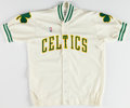 Basketball Collectibles:Uniforms, Late 1980s Brad Lohaus Game Worn Boston Celtics Warmup Jacket....