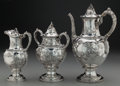 Silver Holloware, American:Coffee Pots, A Three Piece William Gale & Son Coin Silver Coffee Service,New York, New York , circa 1856. Marks: WM. GALE & SON, NEWY... (Total: 3 Items)