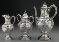 A THREE PIECE WILLIAM GALE & SON COIN SILVER COFFEE SERVICE, New York, New York , circa 1856 Marks: WM. GALE &...