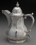 Silver Holloware, American:Coin Silver, A William Gale & Son Coin Silver Coffee Pot, New York, NewYork, circa 1852. Marks: effaced W. CARRINGTON,effaced...