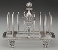 Silver Holloware, British, A John Eames Silver Caduceus Toast Rack, London, England, circa1807-1808. Marks: (lion passant), (leopard's head), M, (...