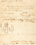 Autographs:Statesmen, [Revolutionary War]. Oliver Ellsworth and Jesse Root Pay OrderSigned on the Verso of a Warrant for Transportation....
