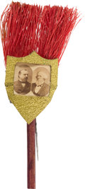 Political:Ferrotypes / Photo Badges (pre-1896), Cleveland & Thurman: Jugate Broom Stickpin....