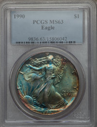 1990 $1 Silver Eagle MS63 PCGS. PCGS Population (10/4882). NGC Census: (5/75599). Numismedia Wsl. Price for problem free...
