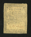 Colonial Notes:Continental Congress Issues, Continental Currency February 17, 1776 $2/3 Very Good....
