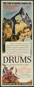 "Movie Posters:Adventure, Drums (United Artists, 1938). Insert (14"" X 36""). Adventure. ..."