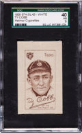 Baseball Cards:Singles (Pre-1930), Extremely Rare 1910-11 S74 - White Silks Ty Cobb SGC 40 VG 3 - WithHelmar Cigarettes Back! ...