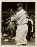 Baseball Collectibles:Photos, 1929 Babe Ruth Original News Photograph, First Time Wearing Number3, PSA/DNA Type 1....