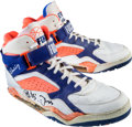 Basketball Collectibles:Others, Circa 1990 Patrick Ewing Game Worn, Signed Shoes - From Family ofSandy Grossman. ...