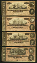 Confederate Notes:1864 Issues, T67 $20 1864 Three Examples. T68 $10 1864.. ... (Total: 4 notes)