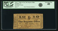 Obsoletes By State:Louisiana, Franklin, LA - Jona. C. White & Son, The Register Office 10 Cents August 26, 1862. PCGS Extremely Fine 40.. ...