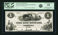 Obsoletes By State:Minnesota, Austin, MN - State Bank of Minnesota (1st) $1 October 5, 1858 MN-10G2, Hewitt B040-D1a. Proof. PCGS Very Choice New 64.. ...