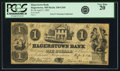 Obsoletes By State:Maryland, Hagerstown, MD - Hagerstown Bank $1 April 3, 1862 MD-240 G26b, Shank 60.7.11. PCGS Very Fine 20.. ...