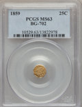 California Fractional Gold: , 1859 25C Liberty Octagonal 25 Cents, BG-702, R.3, MS63 PCGS. PCGSPopulation (44/95). NGC Census: (11/50). ...