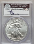 Modern Bullion Coins, 2011-S $1 Silver Eagle, 25th Anniversary Set, First Strike MS70 PCGS. Signature of John M. Mercanti, 12th Chief Engraver of...