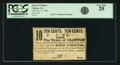 Obsoletes By State:Louisiana, Clinton, LA - Town of Clinton 10 Cents Dec. 31, 1861. PCGS Very Fine 20.. ...